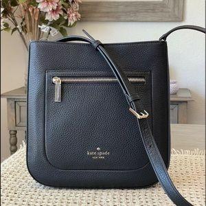 Kate spade top zip crossbody Leila black leather top zip handbag brand new
